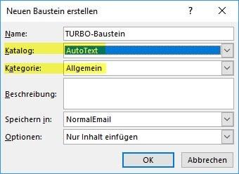 AutoText-Baustein mit ALT F3 anlegen
