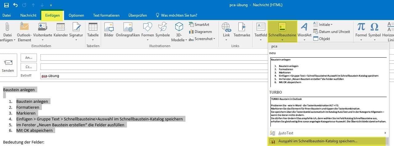 Schnellbausteine In Outlook Erstellen Office Inhouse Schulungen