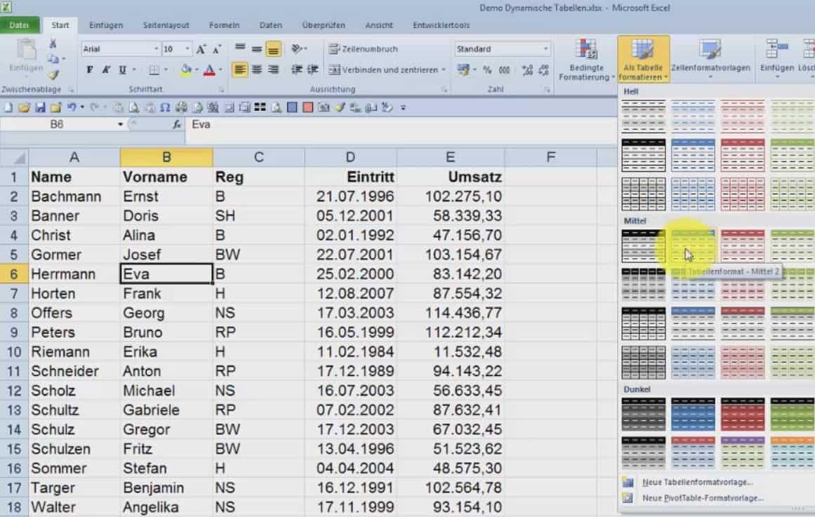 Dynamische Tabelle in Excel und zurück in eine normale Tabelle ...