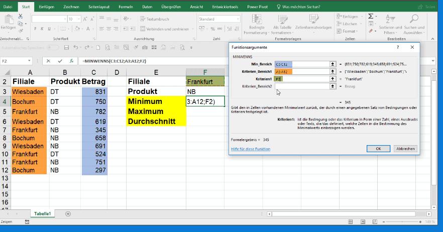 Erster Kriterienbereich in wenn Funktionen in Excel