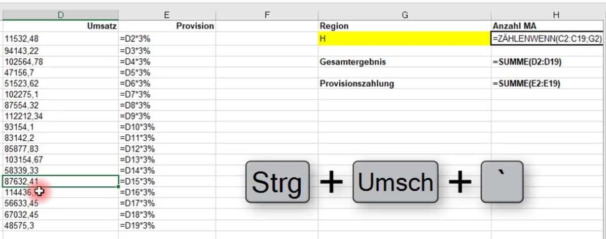 Excel zeigt formel statt wert