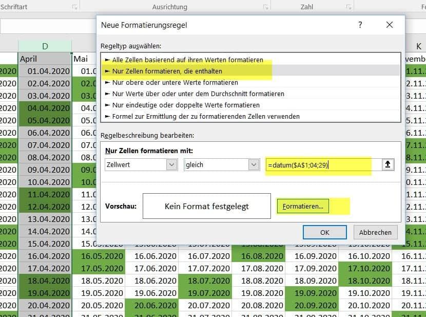 ewiger kalender excel download