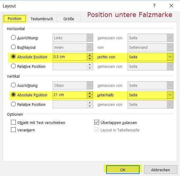 Falzmarken Und Lochmarke Einfuegen In Word 2016 Office Inhouse